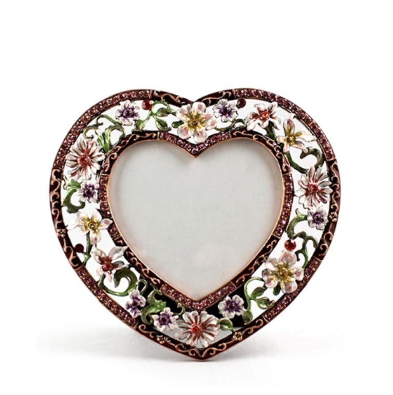 Floral Heart Shaped Faberge Inspired Picture Frame