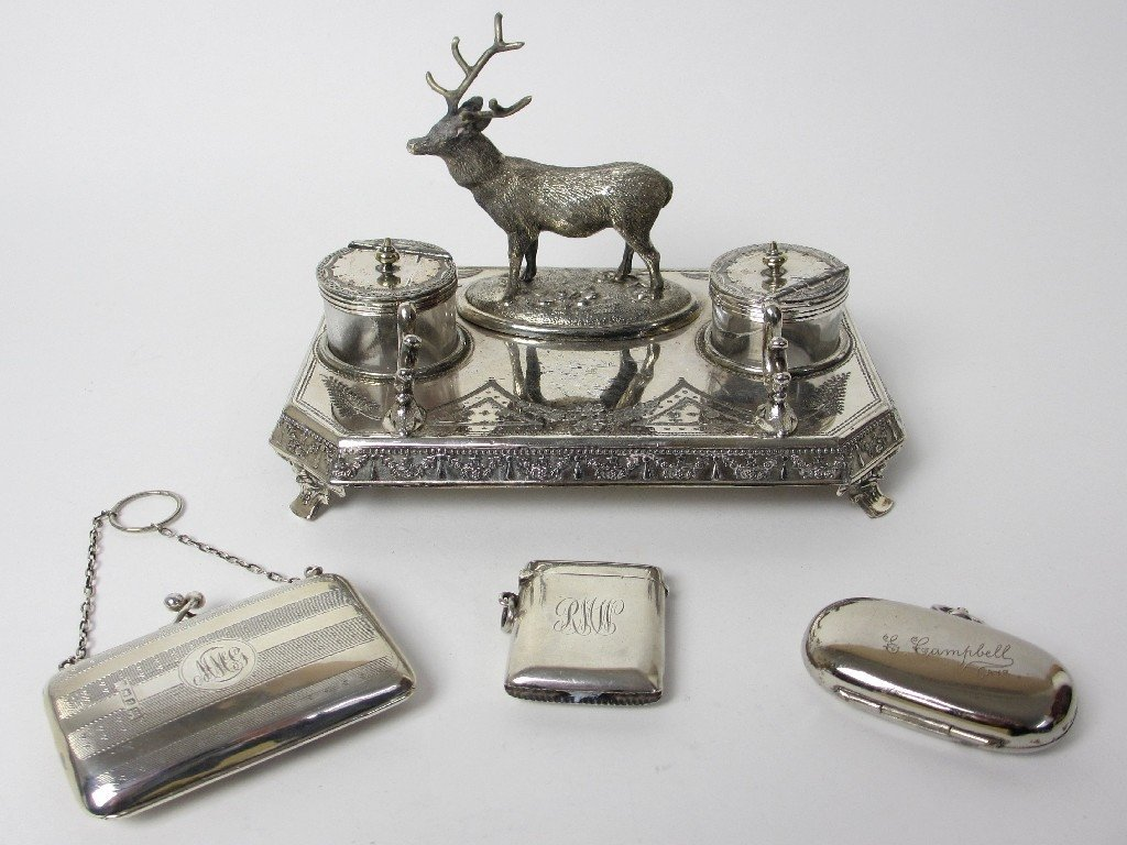 Group of silver plate decorative objects.