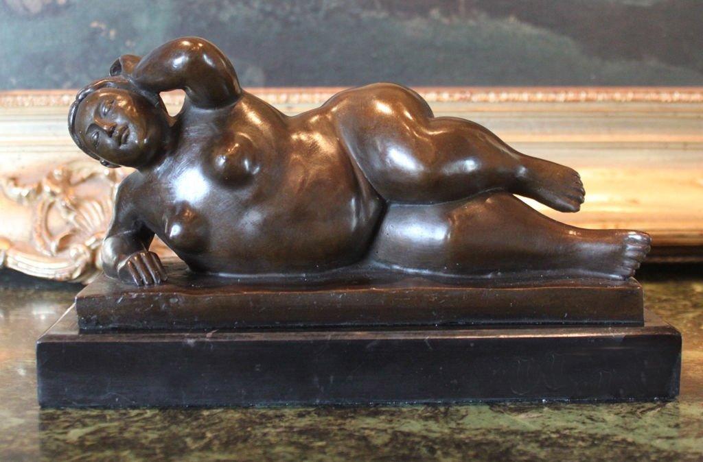 Abstract Erotic Botero Nude Bronze Sculpture