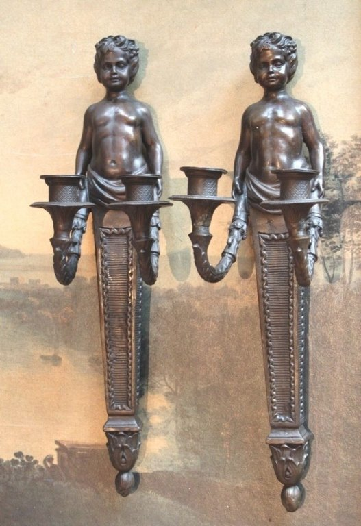 Pair Cherub Angel Bronze Sconce Candle Holders