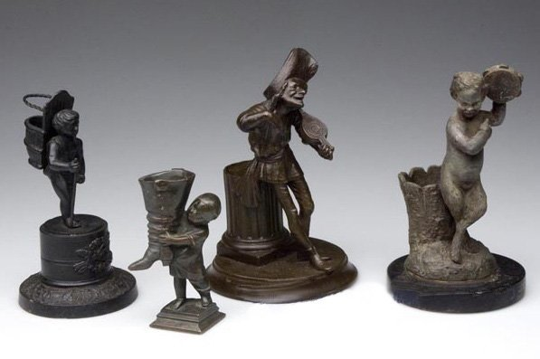 Group of 4 Metal Figural Toothpick Holders
