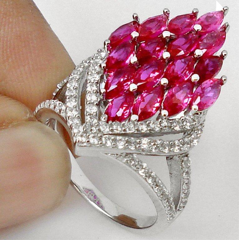 Designer Ruby & White Topaz Ring