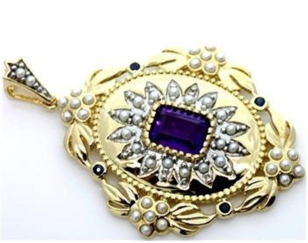Gorgeous Sapphire, Amethyst & Pearl Gold Pendant