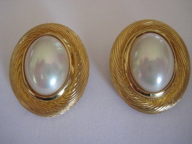 Vintage Signed Christian Dior Gold Earrings.