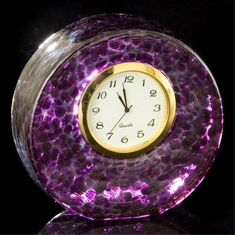 Violet Art Glass Desk Clock