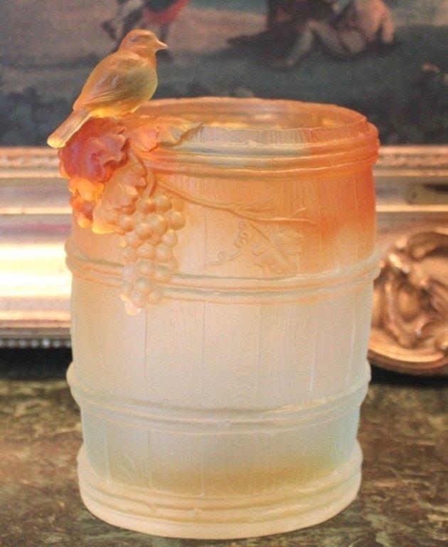 Lalique Inspired Wine Barrel Crystal Vase