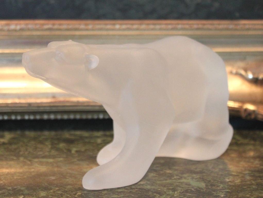 Lalique Inspired Polar Bear Sculpture