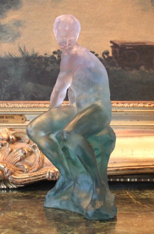 Lalique Inspired Crystal Nude Male Sculpture