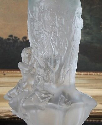 Lalique Inspired Crystal Nude Female Vase