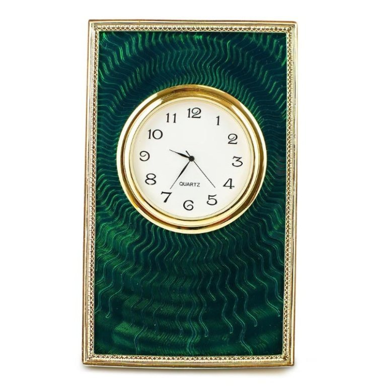 Green Enameled Guilloche Faberge Clock