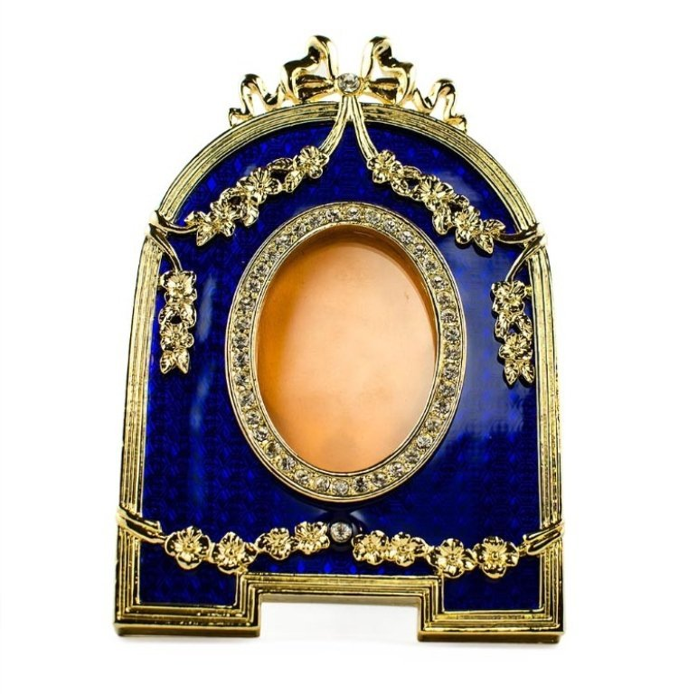 Blue Enameled Guilloche Faberge Inspired Frame