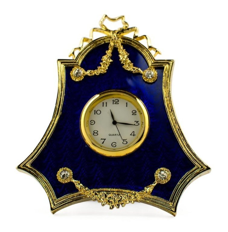 Blue Enameled Guilloche Faberge Inspired Clock