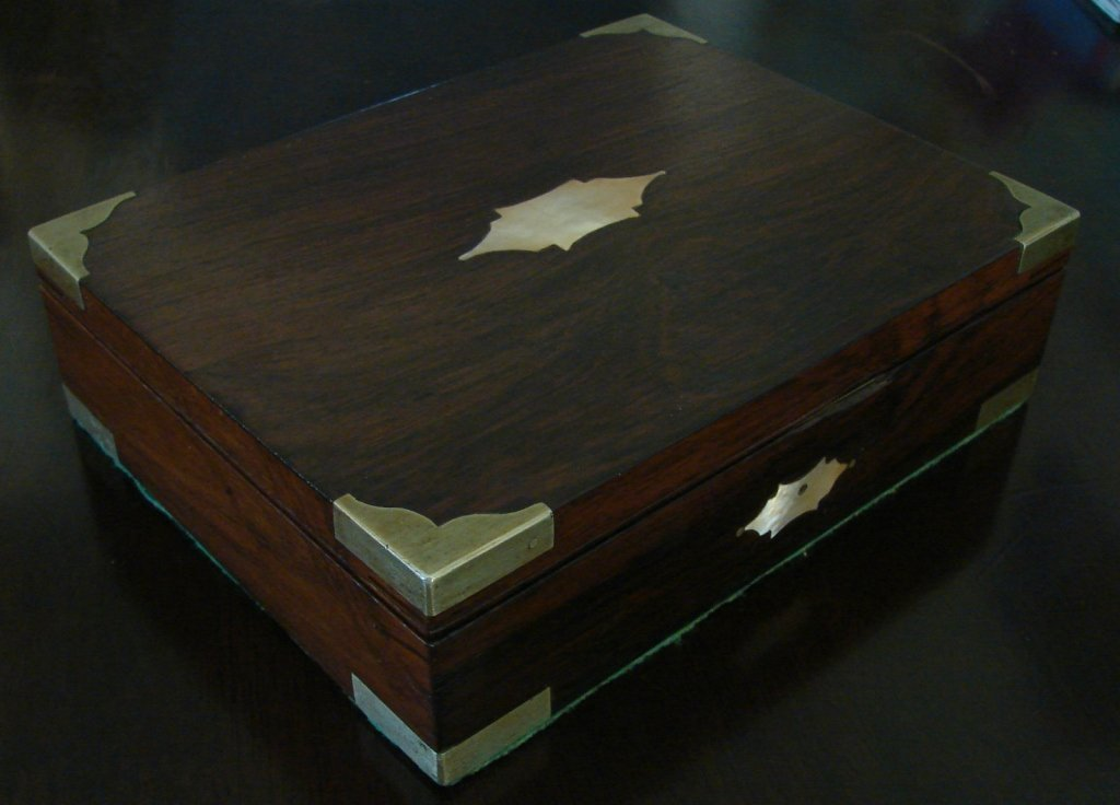Antique Rosewood & Brass Lap Desk
