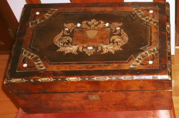 Victorian Wood & Mother of pearl Lap Desk