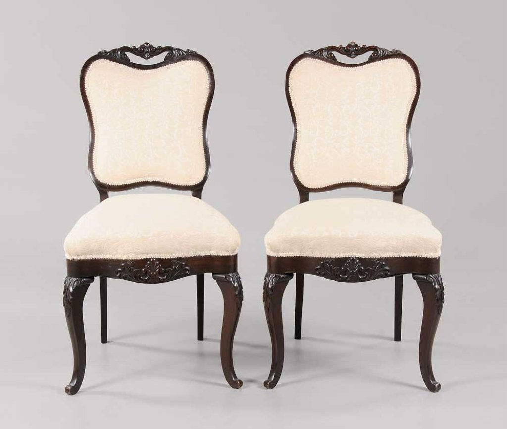 Pair 19th c Carved Rosewood Side Chairs,  American