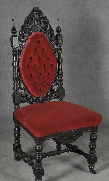 19th c. Gothic Revival Walnut Side Chair