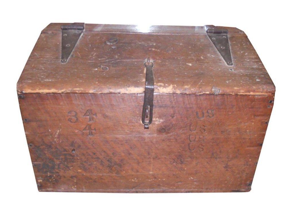 Wooden Civil War-era Trunk, Foot Locker.