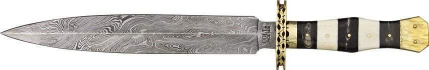 Damascus Steel Dagger w/ Black, White Bone Handle