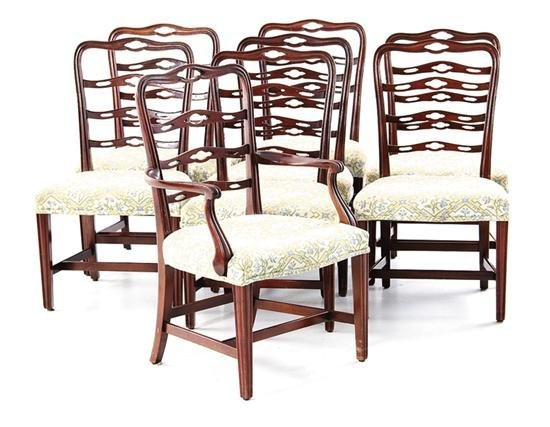 Set of eight Georgian style carved dining chairs