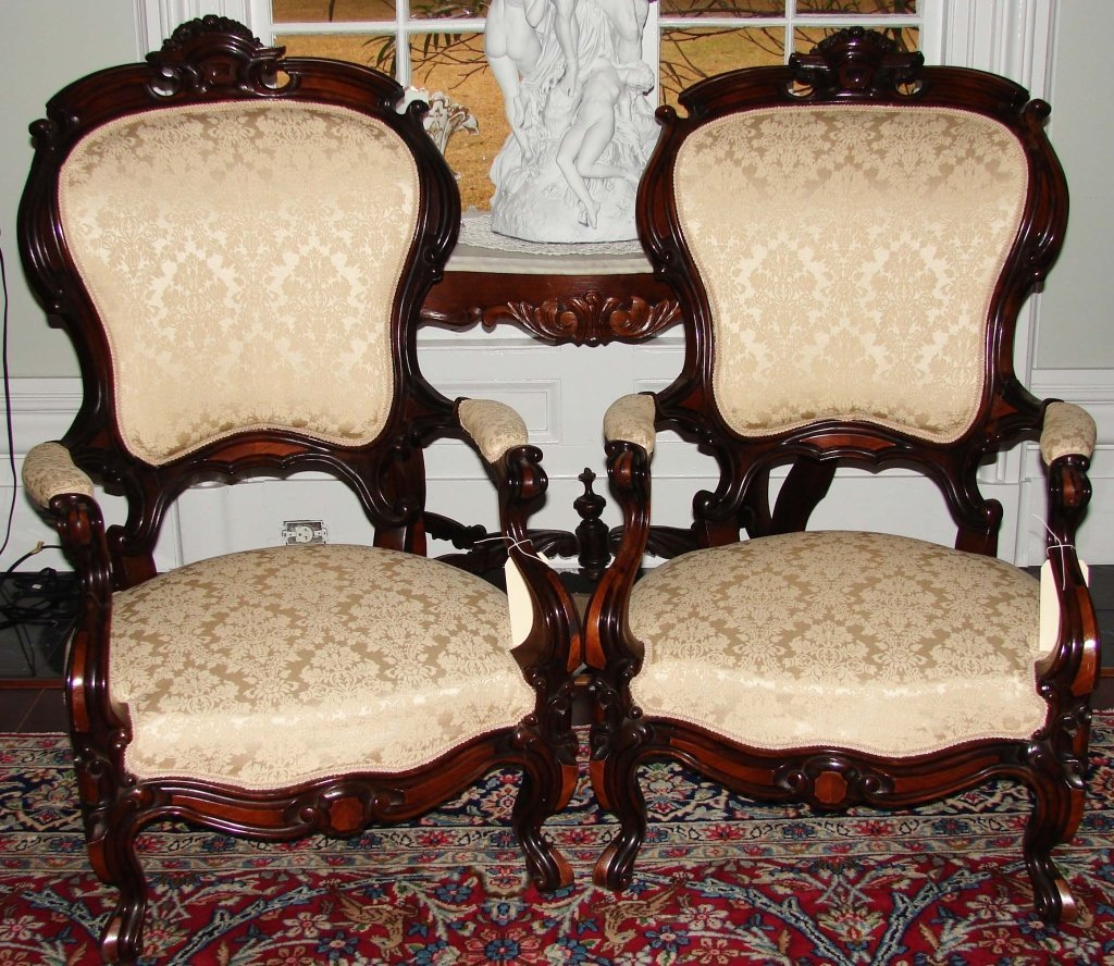 Pair of Mid 19th c. American Parlor Armchairs.