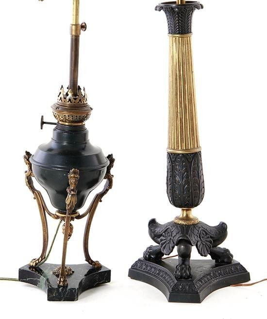 French bronze candlestick and oil lamp late 19th C