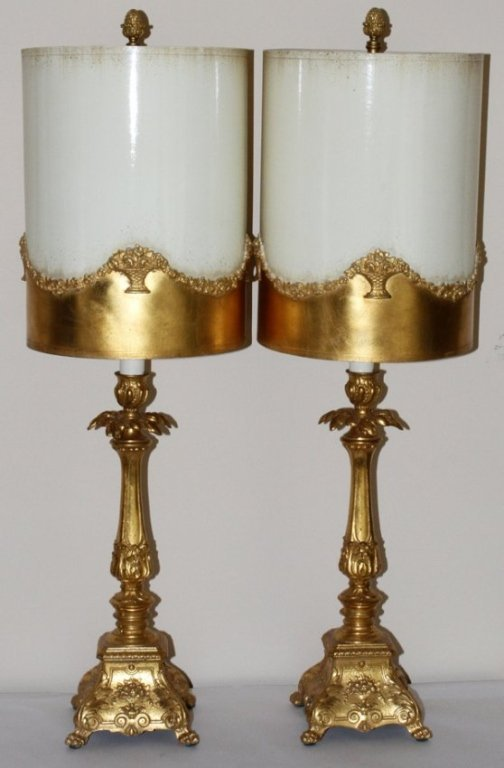 Pair of Hollywood Regency Gilt Table Lamps