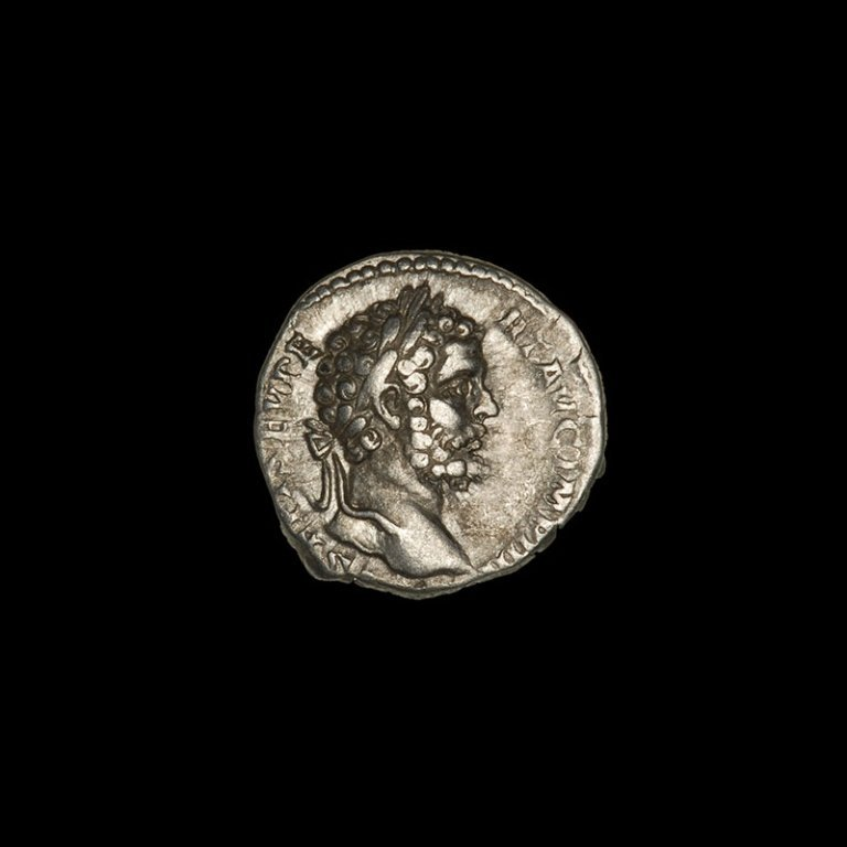Ancient Roman silver denarius of Emperor Septimius