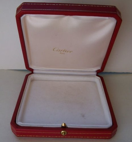 VINTAGE CARTIER Red Leather Jewelry Bracelet Box