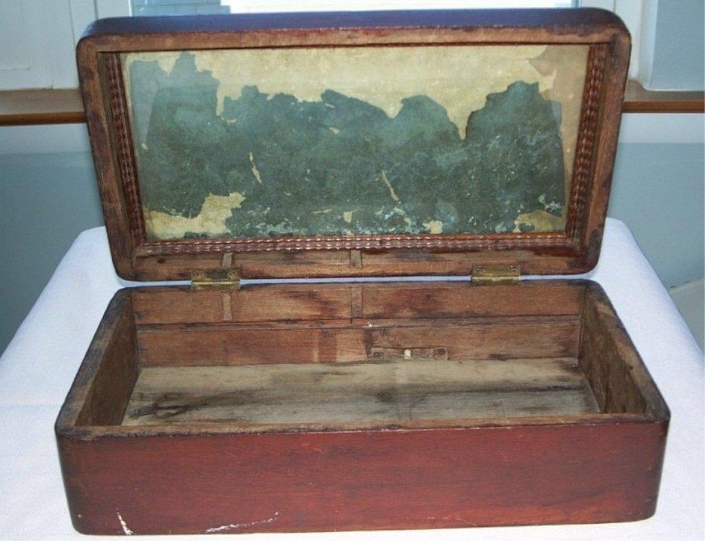 Antique Wood Box Jewelry, Document,Money, Lap Desk