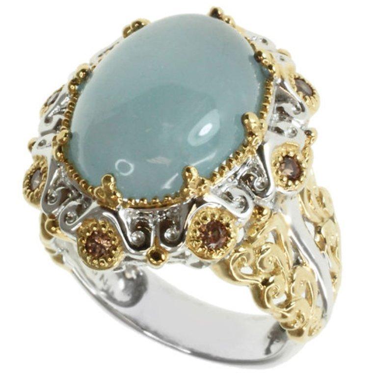 An Aquamarine & Crystal Ring