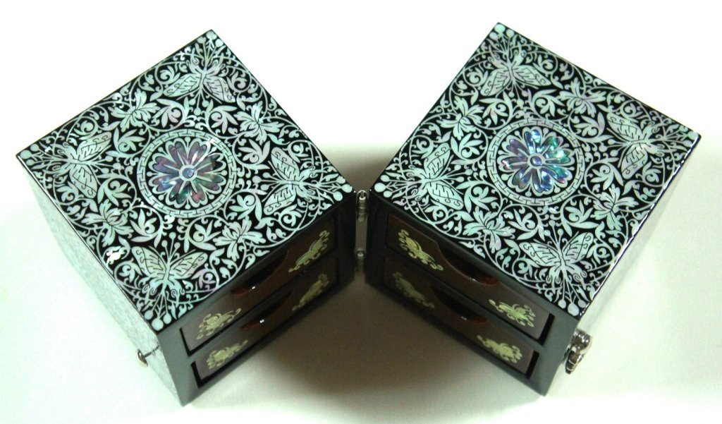 Pair of Mother of Pearl Inlay Floral Jewelry Boxes