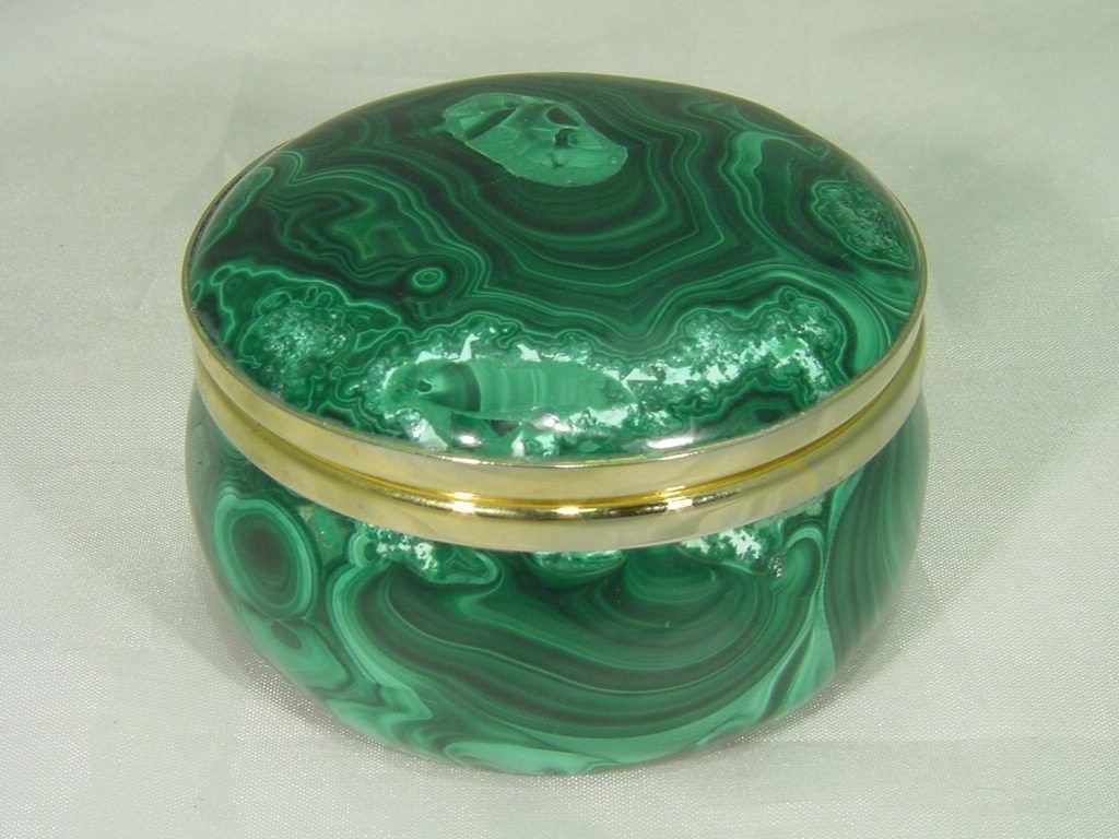 A Hand Made Malachite Jewelry Box