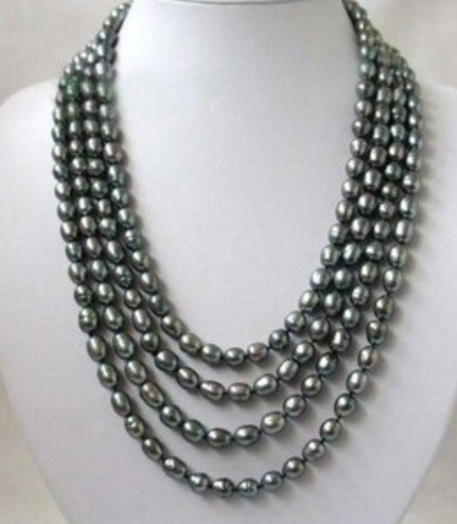 A Black Akoya Rice Pearl Necklace
