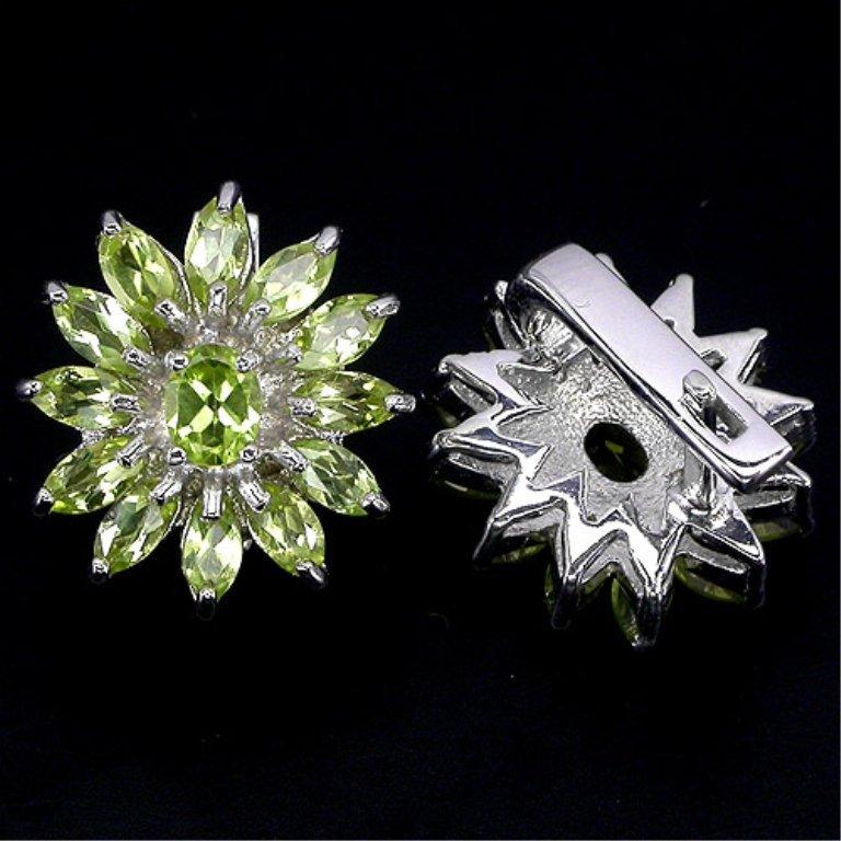 A 42.02 ct VVS Natural Green Peridot Floral Earrings