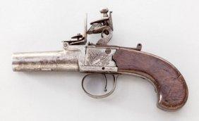 English Flintlock Screw-barrel Muff Pistol