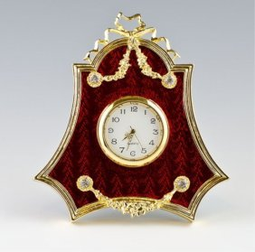 Red Enameled Guilloche Faberge Inspired Clock