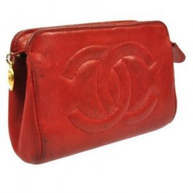 Authentic Chanel Red Leather Lambskin Make-up Bag