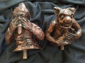 19thc Carved Oak Black Forest Comical Fragments