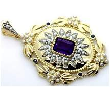 Amethyst, Sapphire & Pearl 9kt Gold Pendant