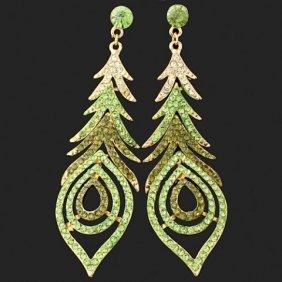 Peacock Swarovski Crystal Dangle Earrings
