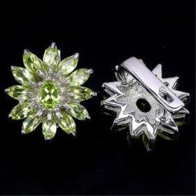 42.02ctw Natural Green Peridot Floral Earrings