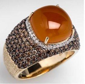 Carlo Viani 14kt Carnelian & Diamond Men's Ring