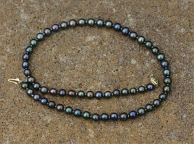 6-7mm Black Tahitian Pearl 14kt Necklace