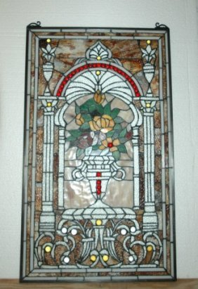 Tiffany-style Stained Glass Panel Of Flowered Urn