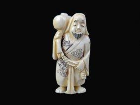 19thc Hand Carved Ivory Netsuke Figure