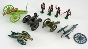 Group Of 9 Metal Cannon Artillery Toys, Soldiers