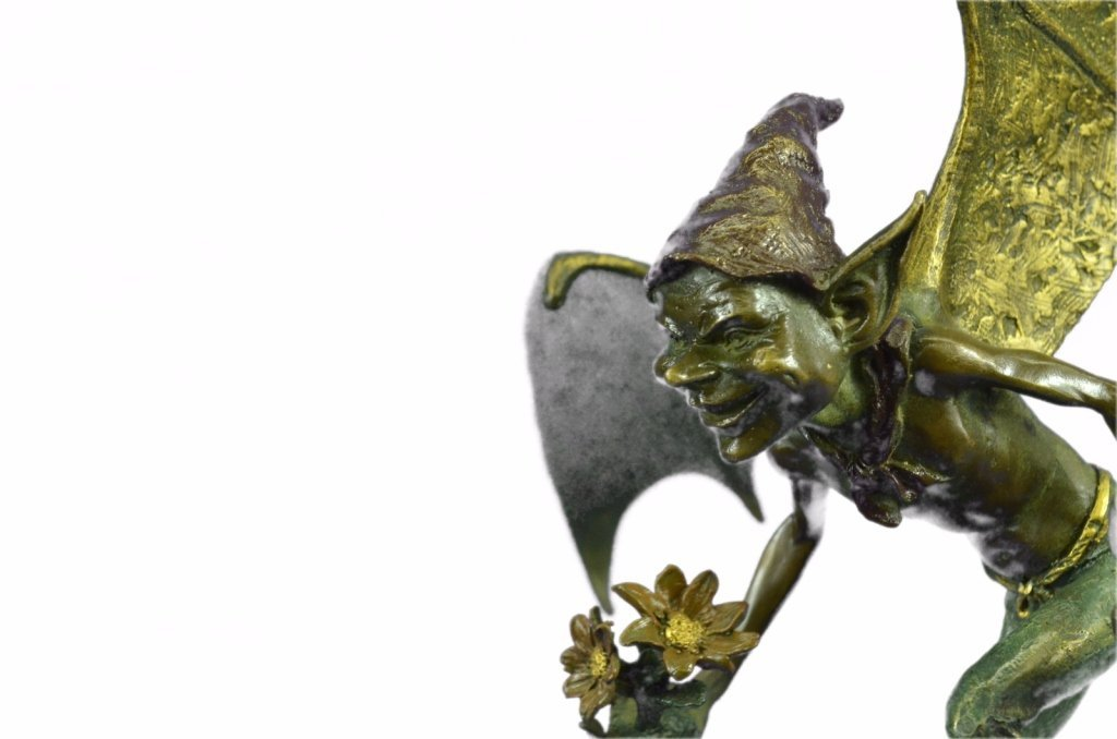 Bronze Goblin Gnome Garden Fairy Sculpture - 5
