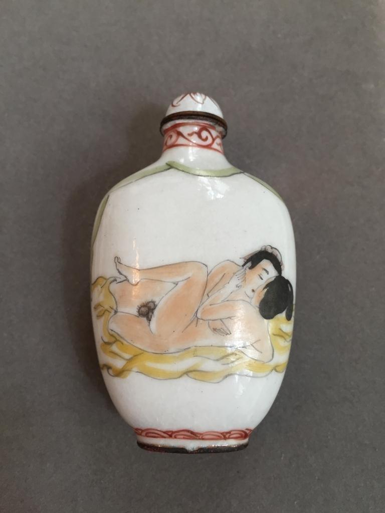 Enameled Copper Erotic Snuff Medicine Bottle - 2