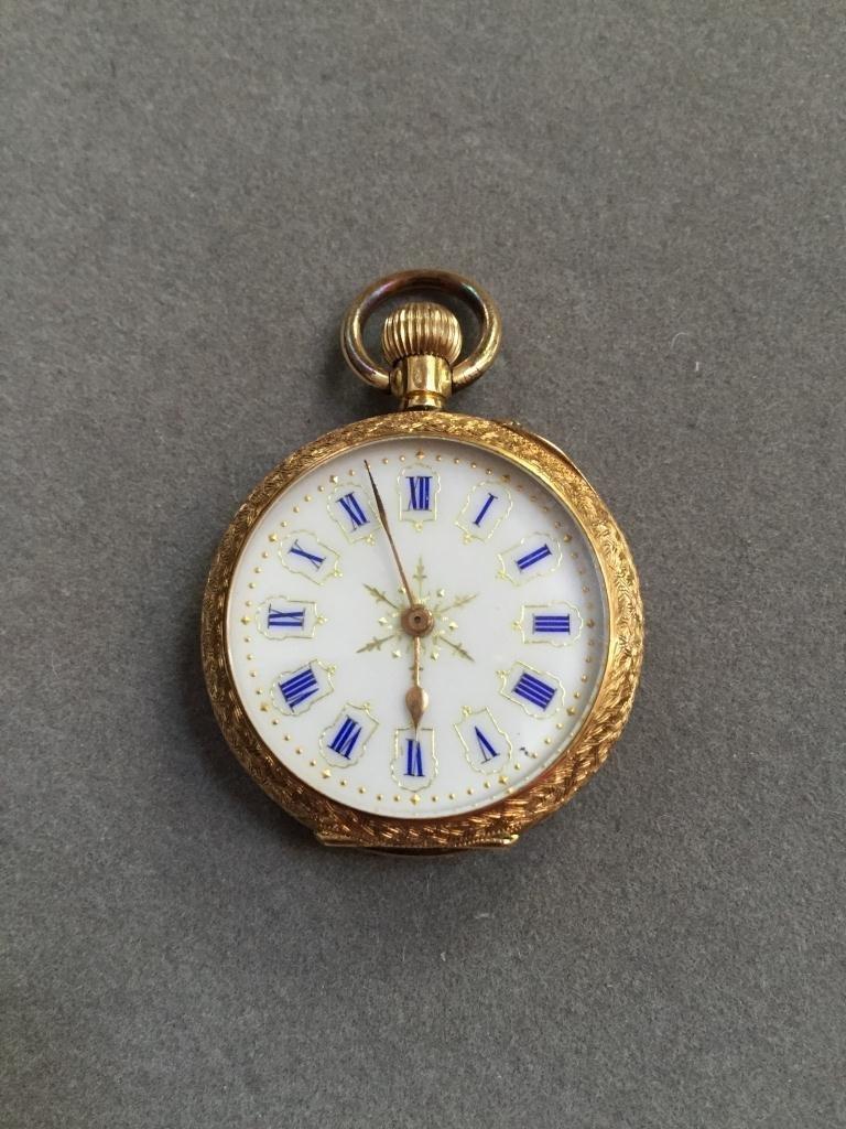 18kt Gold Continental Enamel Pocket Watch