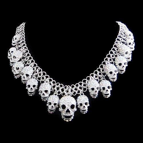 Swarovski Crystal Dangling Skulls Necklace